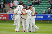 Somerset players huddle together in celebration after thier victory over Nottinghamshire during the Specsavers County Champ Div 1 match between Somerset County Cricket Club and Nottinghamshire County Cricket Club at the Cooper Associates County Ground, Taunton, United Kingdom on 22 September 2016. Photo by Graham Hunt.
