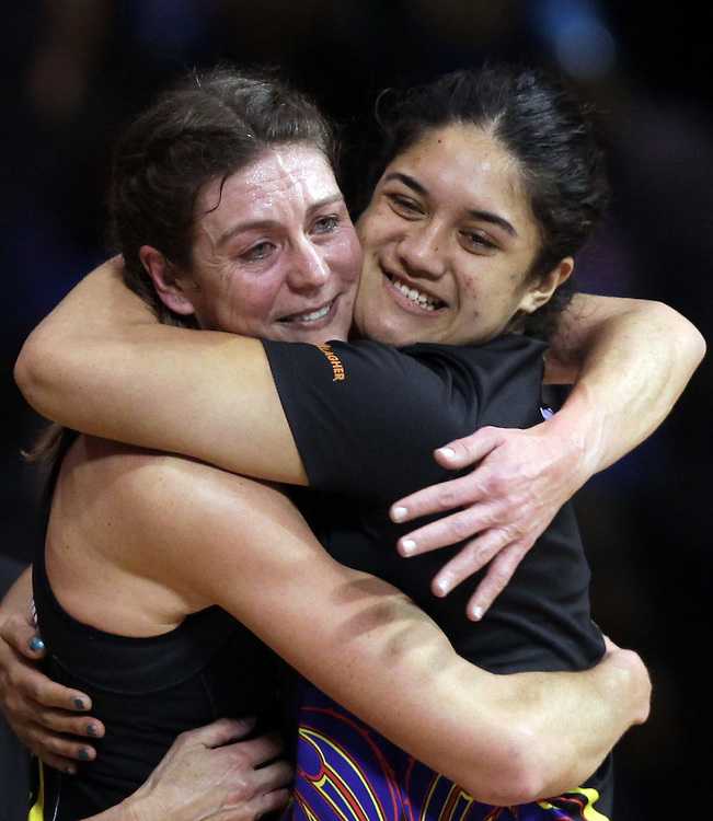 Magic's Irene van Dyk, left, and Sulu Tone Fitzpatrick celebrate defeating the Mystics in the preliminary final of the 2012 ANZ Netball Championship, Trusts Stadium, Auckland, New Zealand, Monday, July 16, 2012.  Credit:SNPA / David Rowland