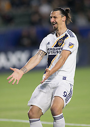 May 30, 2018 - Carson, California, U.S - Zlatan Ibrahimovic #9 of the LA Galaxy reacts after not getting a ball when he was open during their MLS game against FC Dallas on Wednesday, May 30, 2018 at the Stub Hub Center in Carson, California. LA Galaxy Lose to FC Dallas, 2-3. (Credit Image: © Prensa Internacional via ZUMA Wire)