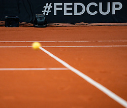 Kiki Bertens in action in the match against Aryna Sabalenka in the Fed Cup qualifier against Belarus in Sportcampus Zuiderpark, The Hague, Netherlands - Electronic Line Calling