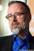 Portrait de Dominic Trudel, CCMC, en direct lors de l'émission radiophonique Francophonie Express ( CCMC : Conseil montérégien de la culture et des communications ) à  Bar Alice de l'hôtel Omni / Montreal / Canada / 2016-02-02, Photo © Marc Gibert / adecom.ca