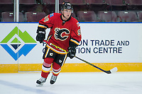 PENTICTON, CANADA - SEPTEMBER 16: Dennis Kravchenko #96 of Calgary Flames warms up against the Winnipeg Jets on September 16, 2016 at the South Okanagan Event Centre in Penticton, British Columbia, Canada.  (Photo by Marissa Baecker/Shoot the Breeze)  *** Local Caption *** Dennis Kravchenko;