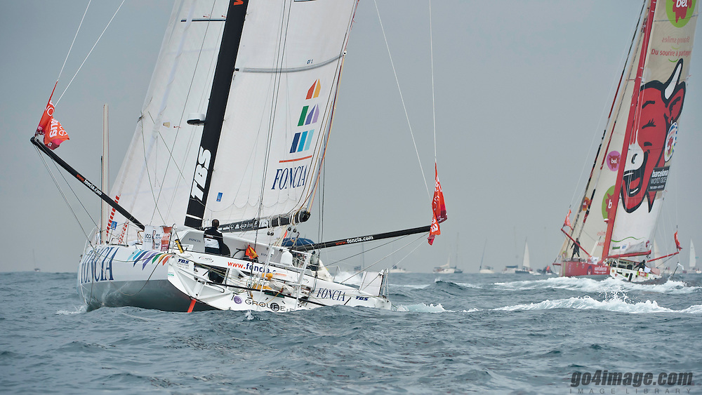 Barcelona 30.12.2010  Harbour of Barcelona after the start of the race, Foncia with Michel Desjoveaux & Francois Gabart
