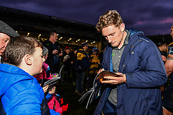 Tom Howe of Worcester Warriors  signs autographs for fans after the game - Mandatory by-line: Craig Thomas/JMP - 27/01/2018 - RUGBY - Sixways Stadium - Worcester, England - Worcester Warriors v Exeter Chiefs - Anglo Welsh Cup