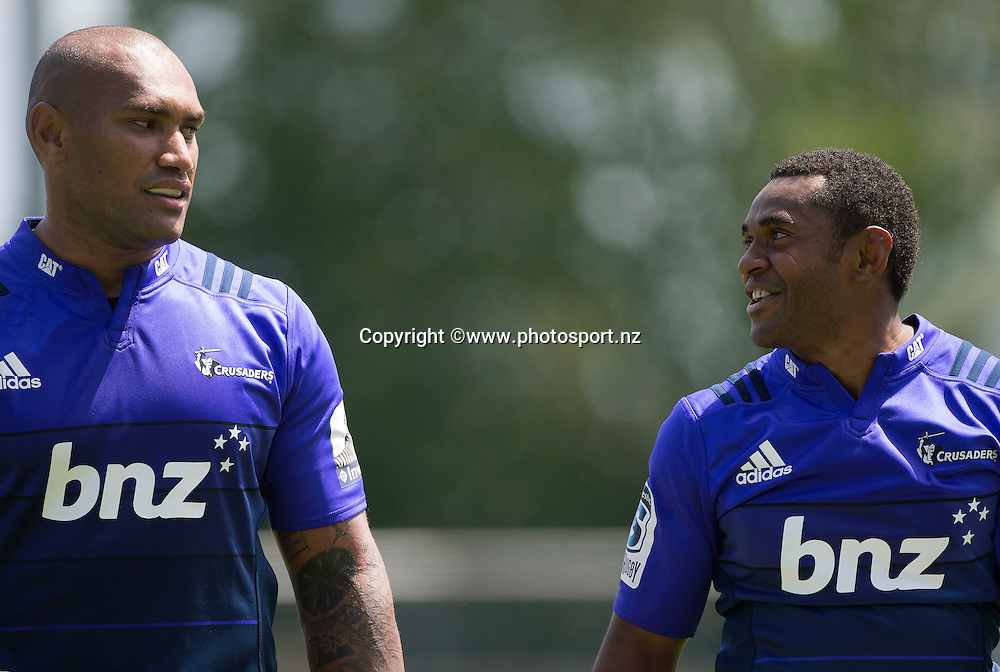 Nemani Nadolo of the Crusaders and Jone Macilai during Crusaders Training before the Super Rugby season held at Rugby Park. 14 January 2016. Photo: Joseph Johnson / www.photosport.nz