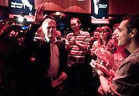 Nederland. Utrecht, 17 februari 2010. <br /> Wouter Bos op de grote landelijke campagne PvdA bijeenkomst met als thema 'De rechtstaat is van iedereen'.  De bijeenkomst vindt plaats in Club Monza. Eerder deze week gaf hij aan vast te houden aan de eerder door de PvdA vastgestelde datum van vertrek uit Uruzgan. later deze week valt het vierde kabinet Balkenende. <br /> Foto Martijn Beekman