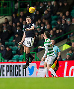 4th April 2018, Celtic Park, Glasgow, Scotland; Scottish Premier League football, Celtic versus Dundee; Lewis Spence of Dundee and Callum McGregor of Celtic