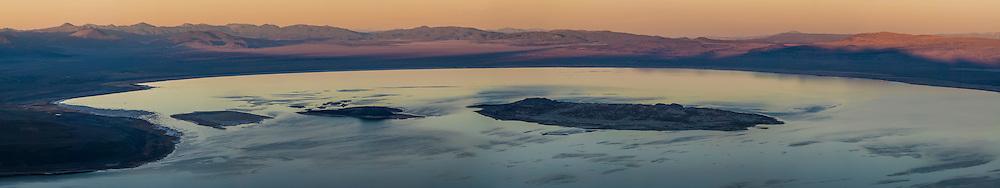 Panorama overlooking Mono Lake at sunset; Mono County; Eastern Sierra; California