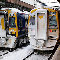 Snow and Ice Disrupt Rail Services in Perth.....03.12.10<br /> Frozen trains stuck at the platforms going nowhere at Perth Railway Station. All trains have been cancelled due to the severe weather that has hit Perthshire and surrounding area. <br /> Picture by Graeme Hart.<br /> Copyright Perthshire Picture Agency<br /> Tel: 01738 623350  Mobile: 07990 594431