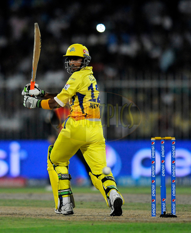 Mithun Manhas of The Chennai Superkings bats during match 16 of the Pepsi Indian Premier League 2014 between the Delhi Daredevils and the Mumbai Indians held at the Sharjah Cricket Stadium, Sharjah, United Arab Emirates on the 27th April 2014<br /> <br /> Photo by Pal Pillai / IPL / SPORTZPICS