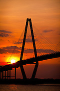 Sunset over the Arthur Ravenel Jr. bridge in Charleston, SC