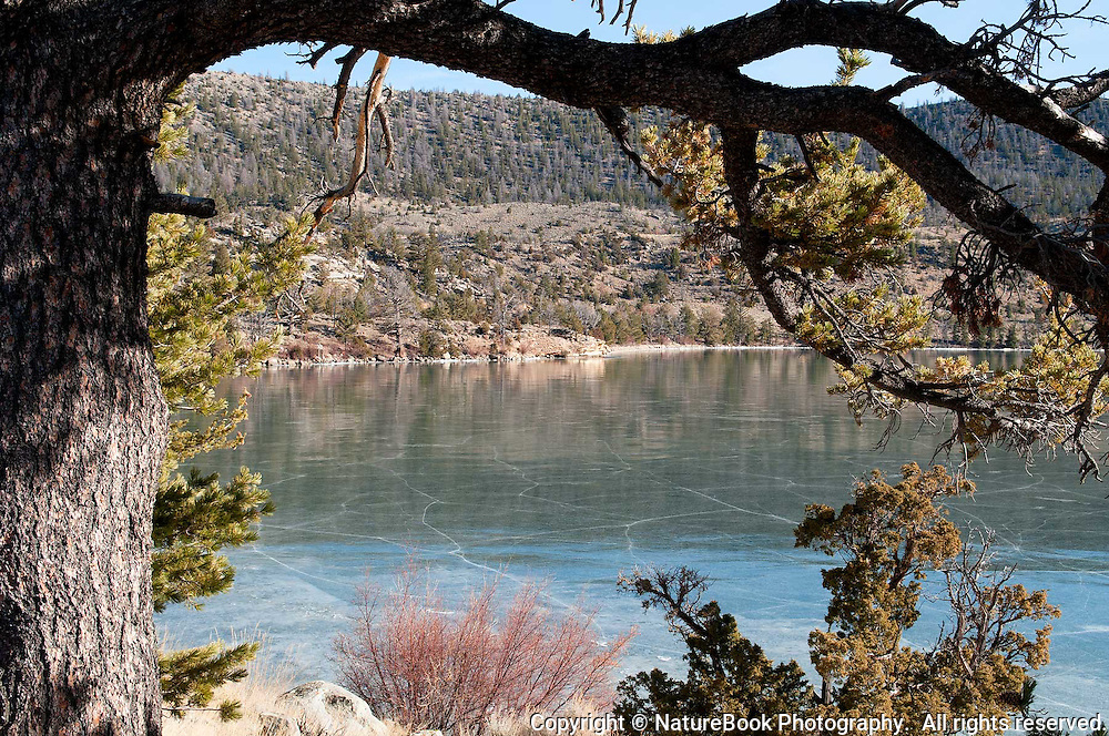 A frozen lake near the Wind River Range in Wyoming is starting to show cracks due to warming temperatures.