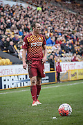 Tony McMahon (Bradford) prepares to take a free kick during the The FA Cup match between Bradford City and Chesham FC at the Coral Windows Stadium, Bradford, England on 6 December 2015. Photo by Mark P Doherty.