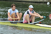 Henley, GREAT BRITAIN, 2012  Silver Goblets & Nickalls' Challenge Cup, M2-, Leander Club, Dan RITCHIE (bow) and Tom BROADWAY (stroke). Friday  10:51:16  29/06/2012    [Mandatory Credit, Intersport Images]. ...Rowing Courses, Henley Reach, Henley, ENGLAND . HRR