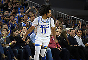 Nov 6, 2019; Los Angeles, CA, USA; UCLA Bruins guard Tyger Campbell (10) reacts after a 3-point basket in the first half against Long Beach State at Pauley Pavilion. UCLA defeated Long Beach State 69-65.