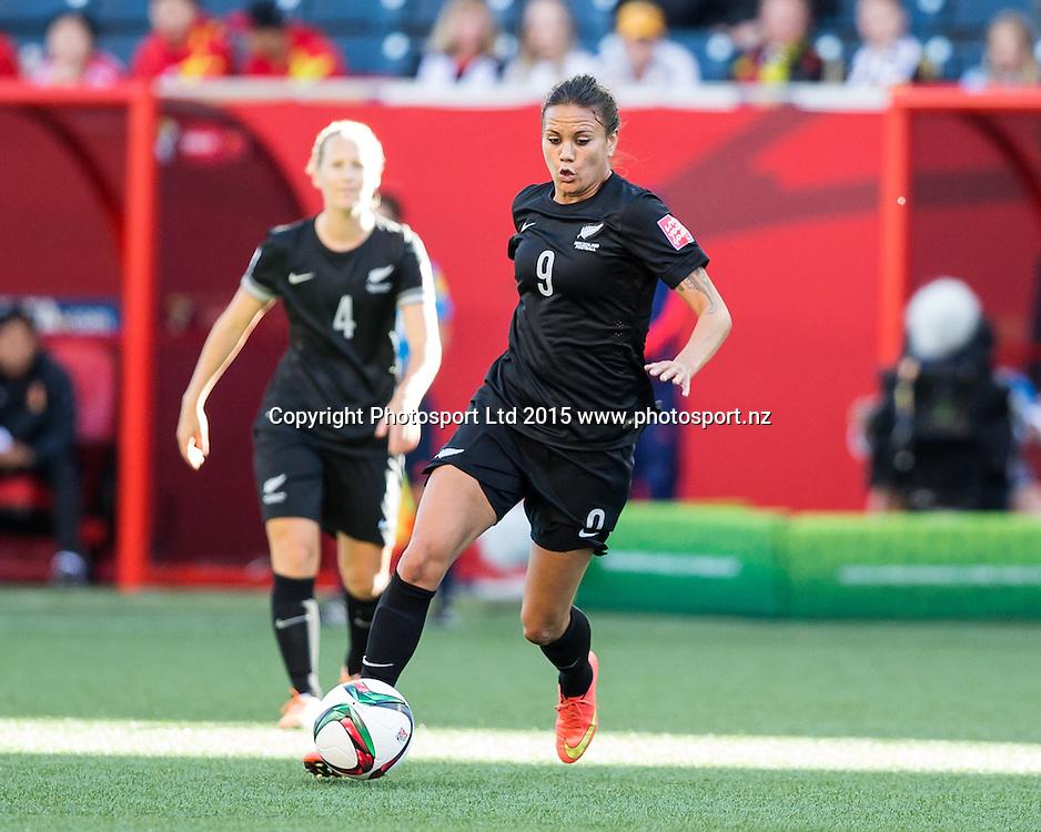 Amber Hearn, WINNIPEG, MANITOBA, CANADA - June 15, 2015: The Woman's World Cup China vs New Zealand match at the Winnipeg Stadium .