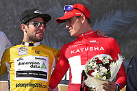 Podium, CAVENDISH Mark (GBR) Dimension Data, Yellow Gold Leader Jersey,  KRISTOFF Alexander (NOR) Katusha, during the 15th Tour of Qatar 2016, Stage 2, Qatar University - Qatar University (145,5Km), Test Event Doha Road World Championships 2016, on February 9, 2016 - Photo Tim de Waele / DPPI