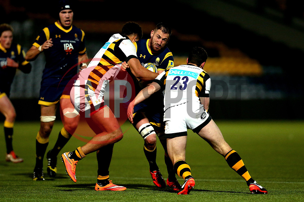 Matt Cox of Worcester Cavaliers is tackled - Mandatory by-line: Robbie Stephenson/JMP - 03/04/2017 - RUGBY - Sixways Stadium - Worcester, England - Worcester Cavaliers v Wasps A - Aviva A League