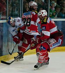 12.04.2011, Volksgarten Arena, Salzburg, AUT, EBEL, FINALE, EC RED BULL SALZBURG vs EC KAC, im Bild Brent Aubin, (EC RED BULL SALZBURG, #26), Martin Schumnig, (EC KAC, #28), Michael Siklenka, (EC KAC, #23) // during the EBEL Eishockey Final, EC RED BULL SALZBURG vs EC KAC at the Volksgarten Arena, Salzburg, 2011-04-12, EXPA Pictures © 2011, PhotoCredit: EXPA/ J. Feichter