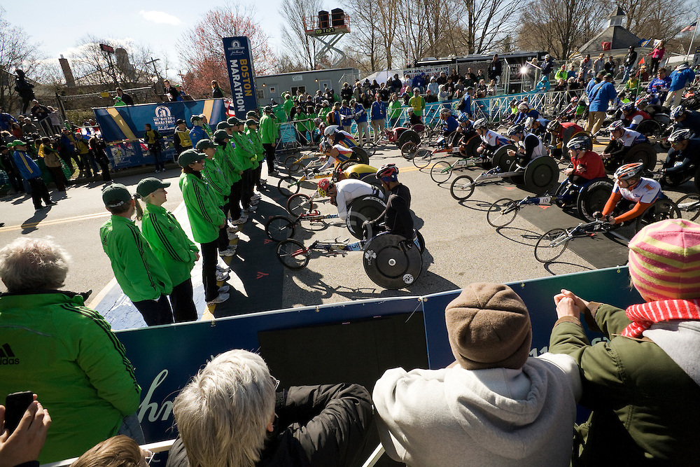 mobility-impaired athletes line up at start line