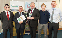 Dr. Tommy Boland, Senior Lecturer in Animal Science, Prof Gerry Boyle Director Teagasc , Minister Tom Hayes,  Eamon Wall Sheep Ireland, Darren Caty, IFJ, Teagasc at the launch of Sheep2015 to be held on Saturday the 20th of June 2015 at the Mellows Campus in Athenry Co. Galway.<br />