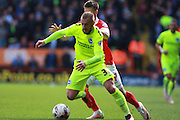 Brighton striker Jiri Skalak gets the better of Charlton Athletic midfielder Johann Berg Gudmundssonduring the Sky Bet Championship match between Charlton Athletic and Brighton and Hove Albion at The Valley, London, England on 23 April 2016. Photo by Bennett Dean.