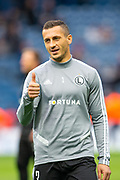 Tomasz Jodlowiec (#3) of Legia Warsaw warms up before the Europa League Play Off leg 2 of 2 match between Rangers FC and Legia Warsaw at Ibrox Stadium, Glasgow, Scotland on 29 August 2019.