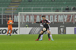 November 23, 2017 - Milan, Italy - André Silva of AC Milan competes for the ball with Thomas Salamon  of FK Austria Wien during uefa Europa League AC Milan vs FK Austria Wien at San Siro Stadium (Credit Image: © Gaetano Piazzolla/Pacific Press via ZUMA Wire)