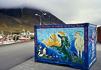 Painted shipping container at the harbour of Isafjordur Iceland