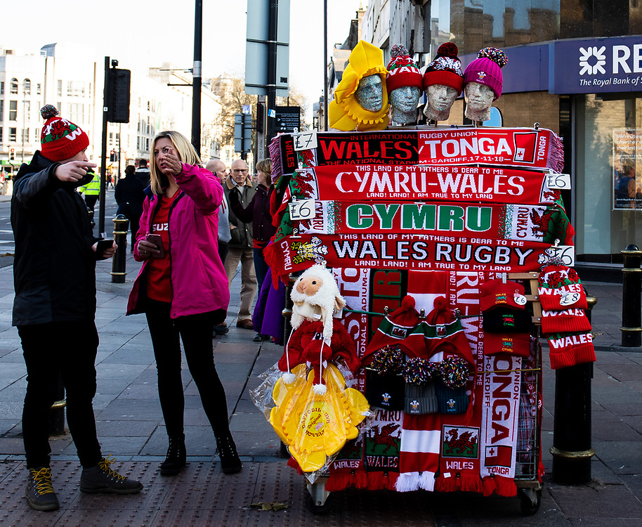 A merchandise seller outside of the stadium<br /> <br /> Photographer Simon King/Replay Images<br /> <br /> Under Armour Series - Wales v Tonga - Saturday 17th November 2018 - Principality Stadium - Cardiff<br /> <br /> World Copyright © Replay Images . All rights reserved. info@replayimages.co.uk - http://replayimages.co.uk