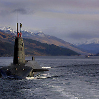The Royal Navy's Vanguard Class Trident Submarine HMS Vengeance, pictured sailing in Loch Long, Scotland<br />