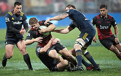Crusaders Jack Goodhue takes the ball into the tackle against the Highlanders  in the Super Rugby quarter final match, AMI Stadium, Christchurch, New Zealand, July 22 2017.  Credit:SNPA / Adam Binns ** NO ARCHIVING**