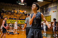 Liberty Ranch Hawks Jalen Patterson (2), cries just seconds before winning the game 85-80 at the Placer Hillman in the DIV NorCal boys quarterfinal, Saturday Mar 10, 2018.  <br /> photo by Brian Baer