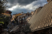 24 August 2016, Amatrice Italy - Rescue teams look for survivors after a 6.3 earthquake hit the town of Amatrice in Lazio region killing more than 240 people. Many other towns of the italian central regions have been hit by the quake. There are still many missing people under the rubble.