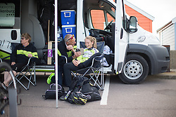 Eva Buurmann (NED) of Parkhotel Valkenburg Cycling Team shares a light-hearted moment with a team staff member, before the start of the Aviva Women's Tour 2016 - Stage 1. A 138.5 km road race from Southwold to Norwich, UK on June 15th 2016.