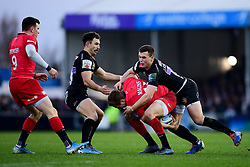 Max Malins of Saracens clings onto the ball as his is challenged by Nic White of Exeter Chiefs and Joe Simmonds of Exeter Chiefs - Mandatory by-line: Ryan Hiscott/JMP - 29/12/2019 - RUGBY - Sandy Park - Exeter, England - Exeter Chiefs v Saracens - Gallagher Premiership Rugby