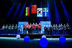 May 6, 2018 - Halmstad, SVERIGE - 180506  Tyskland (tvÃ¥a), Kina (etta), Sydkorea (trea) och Sveriges (trea) Kristian Karlsson, Anton Källberg, Truls MöregÃ¥rdh, Mattias Karlsson, Jon Persson och förbundskapten Ulf Carlsson pÃ¥ prisutdelningen under dag 8 av Lag-VM i Bordtennis den 6 maj 2018 i Halmstad  (Credit Image: © Carl Sandin/Bildbyran via ZUMA Press)