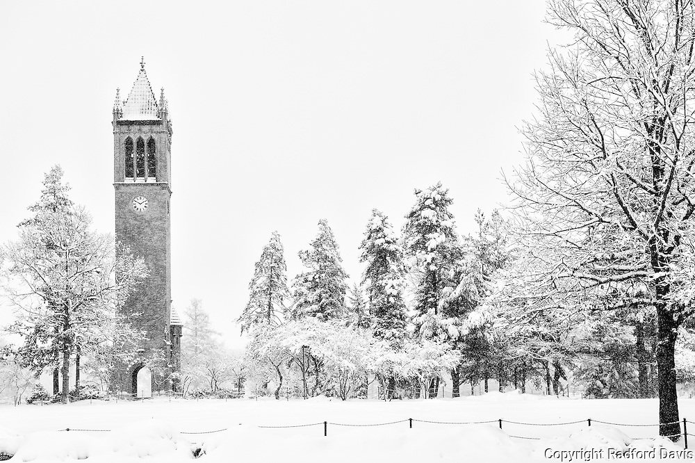 Campanile in winter, Iowa State University campus
