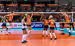 15-10-2018 JPN: World Championship Volleyball Women day 16, Nagoya<br /> Netherlands - USA 3-2 / Maret Balkestein-Grothues #6 of Netherlands, Myrthe Schoot #9 of Netherlands, Lonneke Sloetjes #10 of Netherlands, Laura Dijkema #14 of Netherlands, Celeste Plak #4 of Netherlands, Nicole Koolhaas #22 of Netherlands