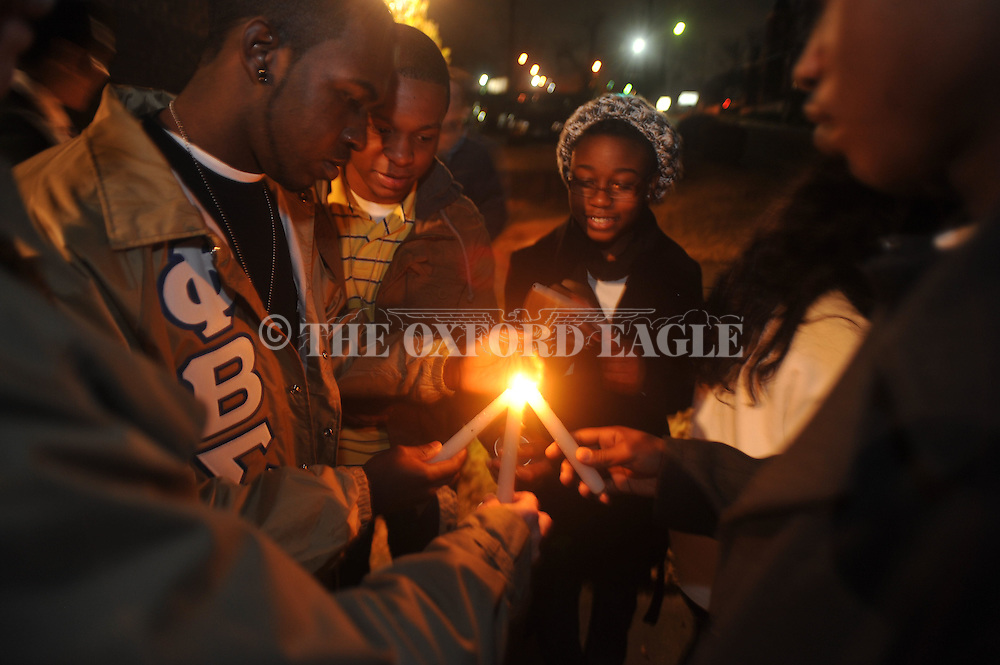 The annual Martin Luther King Jr. candlelit vigil parade in Oxford, Miss., on Monday, January 17, 2011.