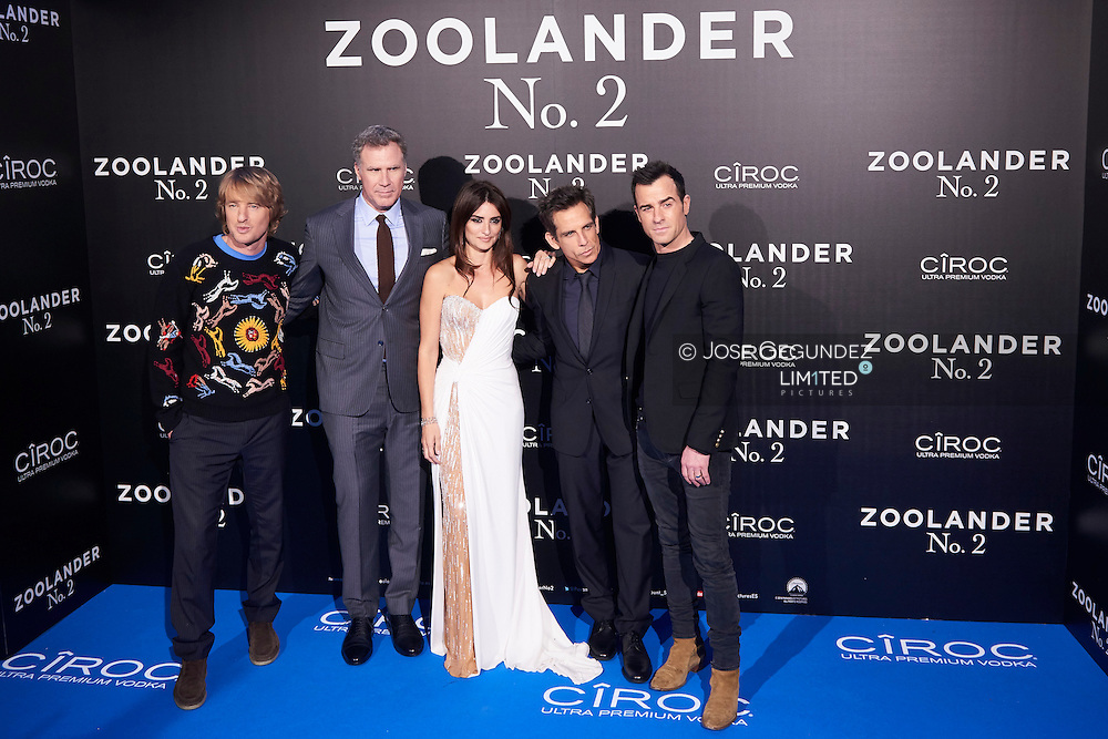 Owen Wilson, Will Ferrer, Penelope Cruz, Ben Stiller, Justin Theroux attend 'Zoolander No. 2' film premiere at Capitol Cinema on February 1, 2016 in Madrid, Spain