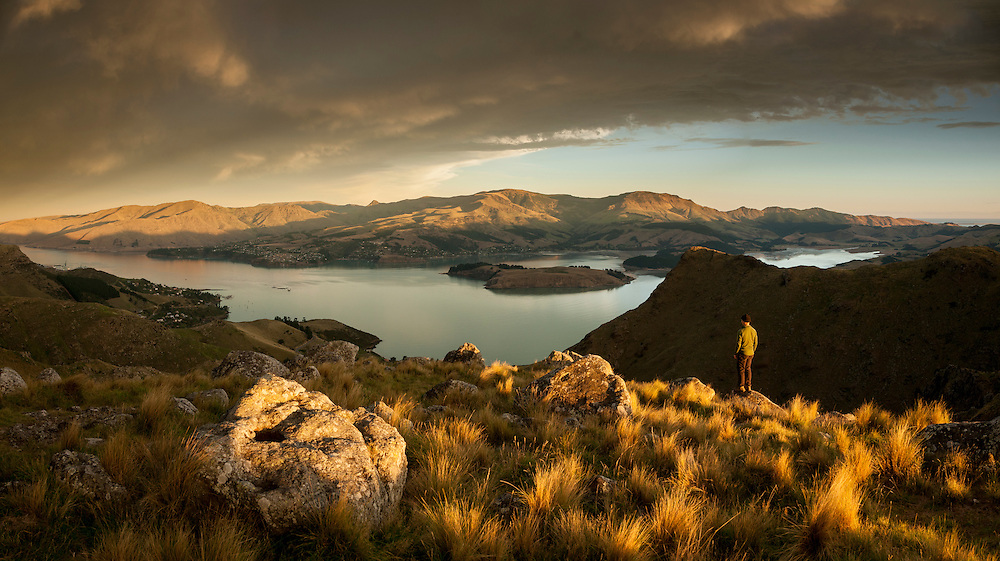 Late afternoon sun on the Port Hills overlooking Lyttelton Harbour. Kind of a selfie.
