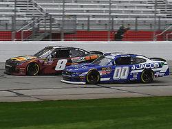 February 23, 2019 - Hampton, GA, U.S. - HAMPTON, GA - FEBRUARY 23: Cole Custer, Stewart-Haas Racing, Ford Mustang Jacob Companies (00) and Ryan Preece, JR Motorsports, Chevrolet Camaro Louisiana Hot Sauce (8) race side by side during the Xfinity Series  Rinnai 250 on February 23, 2019, at Atlanta Motor Speedway in Hampton, GA.(Photo by Jeffrey Vest/Icon Sportswire) (Credit Image: © Jeffrey Vest/Icon SMI via ZUMA Press)