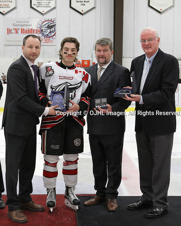 GEORGETOWN, ON  - APR 13,  2017: Ontario Junior Hockey League, Championship Series. Georgetown Raiders vs the Trenton Golden Hawks in Game 1 of the Buckland Cup Final. The 2017 OJHL Awards presentation held in a pre-game ceremony before game one of the Buckland Cup Championship Series, in Georgetown Ontario. Most Valuable Player, Jack Jacome of the Georgetown Raiders.<br /> (Photo by Tim Bates / OJHL Images)