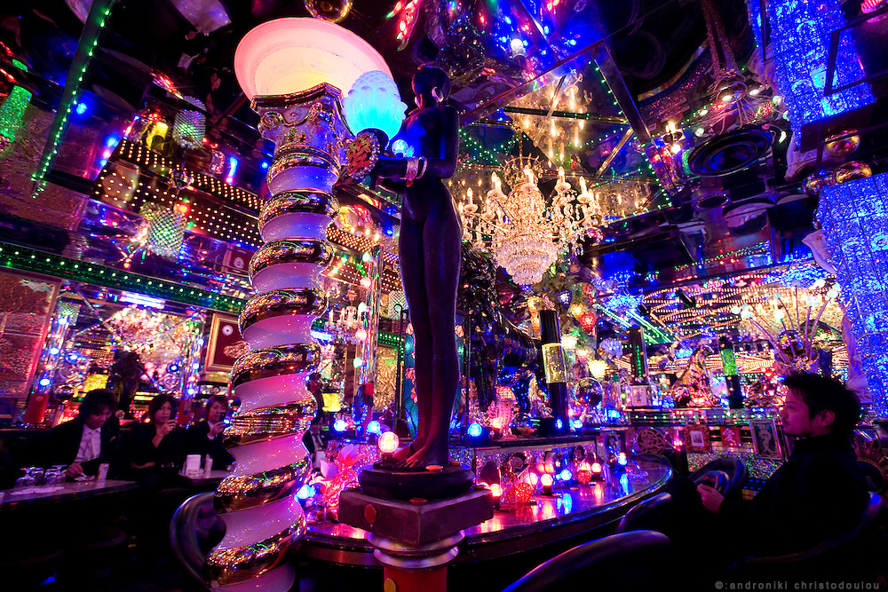 "Interior of club ""Ai"". Club ""Ai"" (love in Japanese) is one of the oldest host clubs in Kabukicho entertainment area near Shinjuku. It started functioning 37 years ago, with hosts ready to take care of the needs of their female customers. The customers have to pay from 5000 friendly price for beginners, to millions of yen, depending on how good the host is in pleasing the customer and encouraging her to buy drinks. On top of these a good host can receive expensive gifts from his regular customers.  Tokyo - JAPAN"