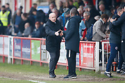 Southend United manager Chris Powell and Accrington Stanley Manager John Coleman shake hands at full time during the EFL Sky Bet League 1 match between Accrington Stanley and Southend United at the Fraser Eagle Stadium, Accrington, England on 23 February 2019.