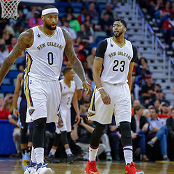 Mar 21, 2017; New Orleans, LA, USA; New Orleans Pelicans forward DeMarcus Cousins (0) and forward Anthony Davis (23) during the first quarter of a game against the Memphis Grizzlies at the Smoothie King Center. Mandatory Credit: Derick E. Hingle-USA TODAY Sports