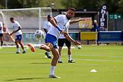 AFC Wimbledon defender Luke O'Neill (2) warming up during the EFL Sky Bet League 1 match between AFC Wimbledon and Accrington Stanley at the Cherry Red Records Stadium, Kingston, England on 17 August 2019.