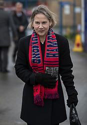 © Licensed to London News Pictures. 27/02/2017. London, UK. Tania Mathias MP attends the funeral of comedy writer Alan Simpson at the Hampton & Richmond Borough Football Club in Hampton, west London. Alan Simpson was best known for his comedy writing partnership with Ray Galton - creating greats such as Hancock's Half Hour  and Steptoe and Son. Photo credit: Peter Macdiarmid/LNP