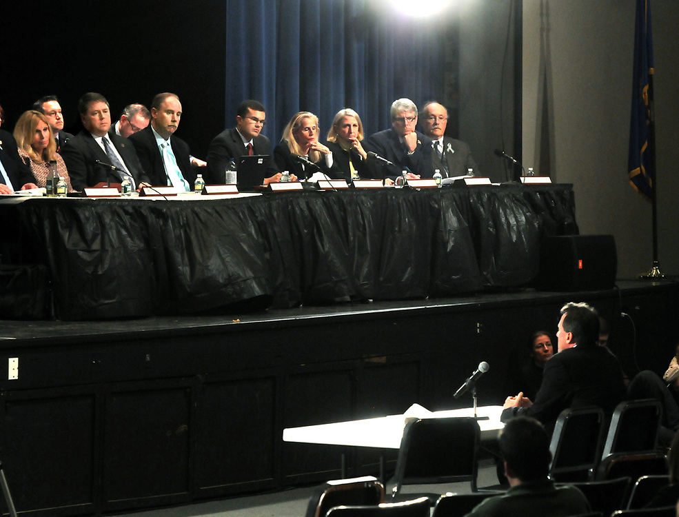 Neil Heslin, father of Sandy Hook victim Jesse Lewis, testifies to the Bipartisan Task Force on Gun Violence Prevention and Children's Safety hearing at Newtown High School. Mara Lavitt/New Haven Register<br /> <br /> 1/30/13